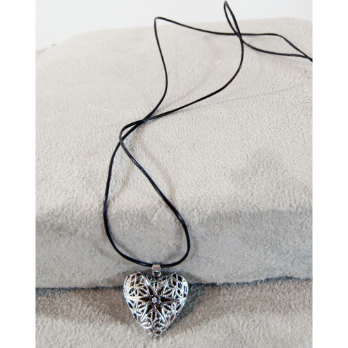 Heart Shaped Aromatherapy Necklace with Frankincense Resin by Stone Age Jewelry